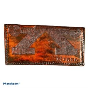 DIESEL cognac leather embossed check book holder